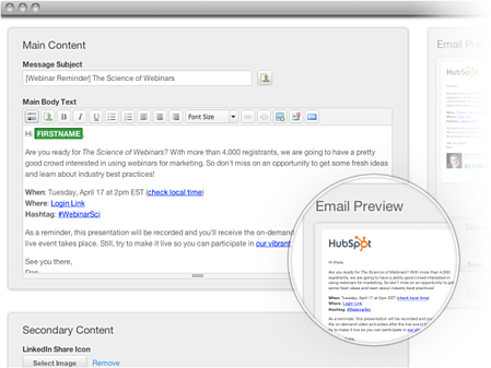 HubSpot email software personalisation